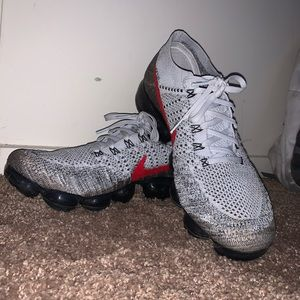 Nike VaporMax Silver/Black/Red Athletic Shoes